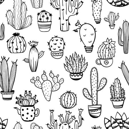 面白いサボテンと多肉植物のシームレスなパターンをスケッチします。観葉植物と野生サボテン背景。  イラスト・ベクター素材