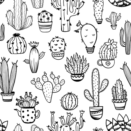 Sketch seamless pattern of funny cactus and succulent. Houseplant and wild cactus background.