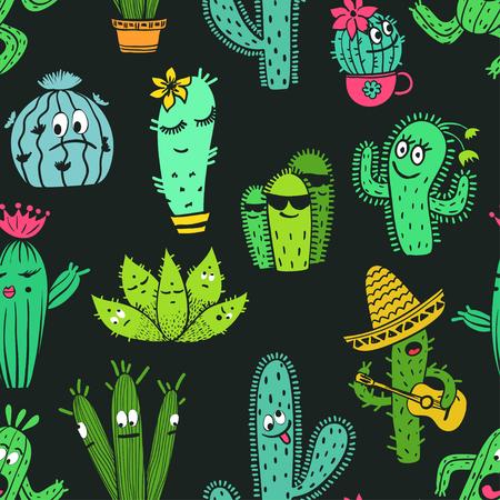 黒の背景に面白い漫画のサボテンと多肉植物の文字のカラフルなシームレス パターン。 写真素材 - 78788168