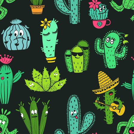 Colorful seamless pattern of funny cartoon cactus and succulent characters on a black background.