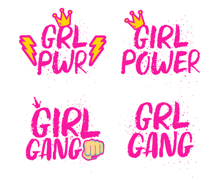 Set of feminist slogans and cartoon comic stickers. Hand drawn pink brush ink lettering GRL PWR, Girl Power, Girl Gang. Stock Vector - 78788174