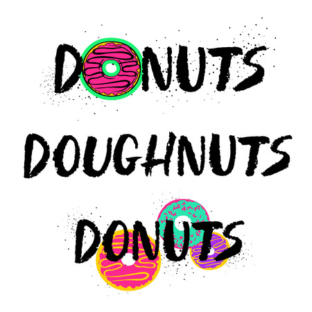 Donuts lettering isolated on a white background. Hand drawn brush ink lettering set. Illustration