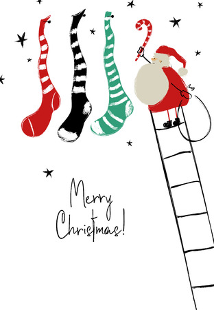 Merry Christmas greeting card. Santa Claus hanging traditional holiday decoration socks with presents.