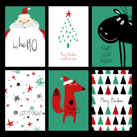 Set of Christmas greeting cards. Funny hand drawn grunge cards with Santa Claus, deer, fox, tree and snowflakes.