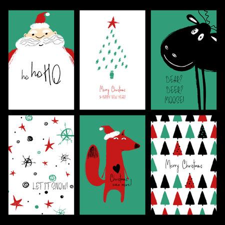 Conjunto de cartões de Natal. Cartões de grunge engraçado mão desenhada com Papai Noel, veado, raposa, árvore e flocos de neve.