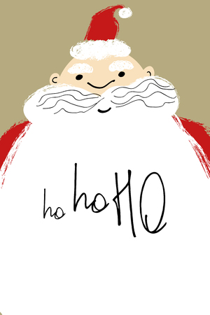 Hand drawn Christmas greeting card with close up Santa face and text ho-ho-ho on the beard.