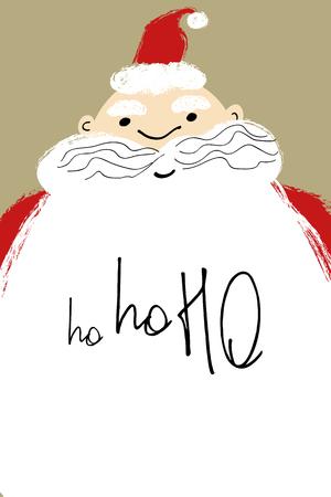 Hand drawn Christmas greeting card with close up Santa face and text ho-ho-ho on the beard.