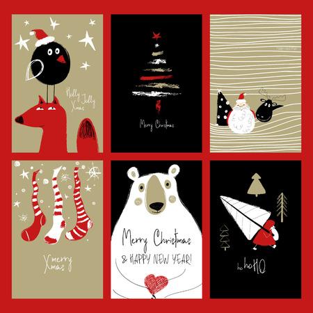 Set kerstkaarten voor wenskaarten. Grappige hand getrokken retro grungekaarten met Santa Claus, herten, vos, beer, boom, vogel en kousen.