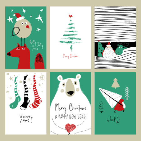Set of Christmas greeting cards. Funny hand drawn grunge cards with Santa Claus, deer, fox, bear, tree, bird and stockings. Stock Illustratie
