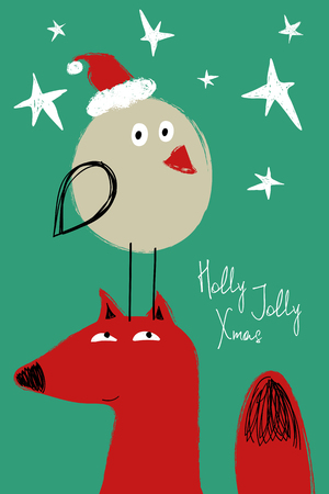 Hand drawn Christmas greeting card with funny bird standing on a head of fox. Çizim