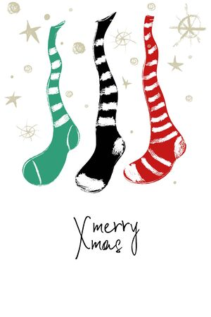 Hand drawn greeting card with funny hanging Christmas decorative stockings.
