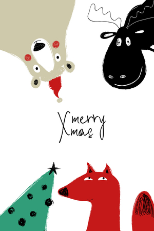 Hand drawn greeting card with Christmas tree and sticking out funny animals: polar beer, foz and deer. Çizim