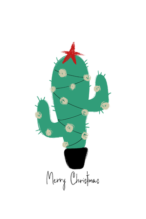 Colorful hand drawn greeting card with funny grunge Christmas cactus tree.