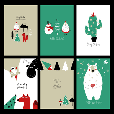 Set of Christmas greeting cards. Funny hand drawn retro grunge cards with Santa Claus, deer, fox, bear, tree, snowman and decorative cactus. Illustration