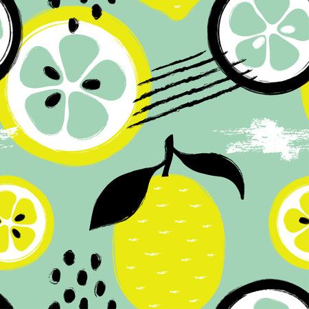 抽象面白い明るいカラフルなレモンシームレスパターン。手描きブラシグランジ柑橘類の果実の背景。