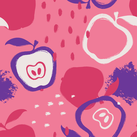 Abstract bright colorful apple seamless pattern. Hand drawn brush grunge fruit background.
