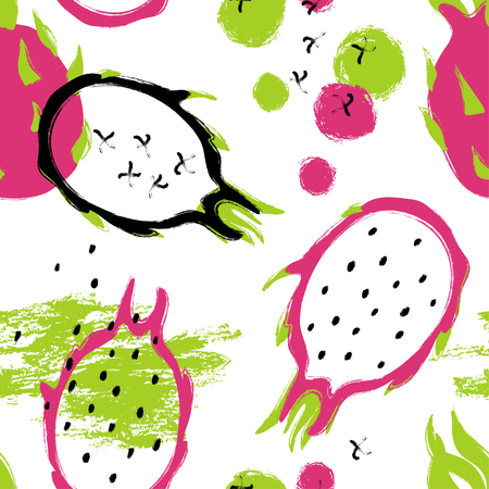Abstract bright colorful dragon fruit seamless pattern. Hand drawn brush grunge exotic asian fruit background.
