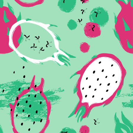Abstract colorful dragon fruit seamless pattern. Hand drawn brush grunge exotic asian fruit background.