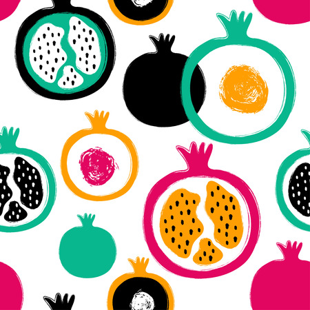Abstract bright colorful pomegranate seamless pattern. Hand drawn brush grunge garnet fruit background. 向量圖像