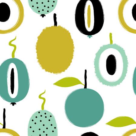 Modèle sans couture de fruits tropicaux exotiques colorés colorés. Fond de fruits grunge brosse dessinés à la main. Banque d'images - 89252951