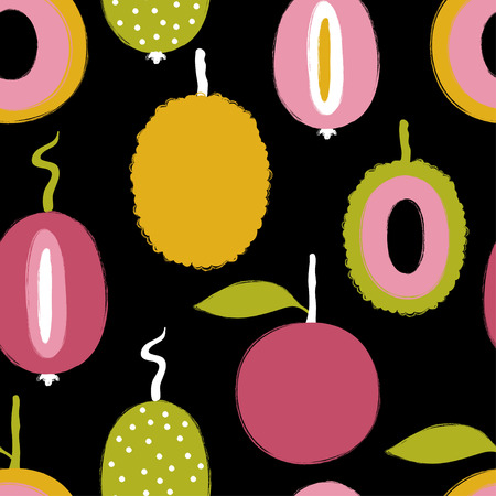 Abstract colorful exotic tropical fruits seamless pattern. Hand drawn brush grunge fruit background.