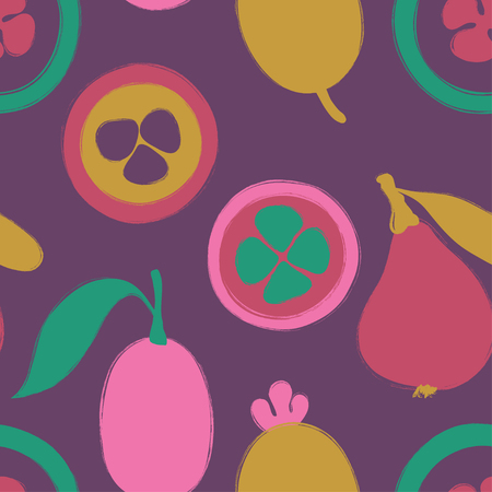 Abstract colorful fruits seamless pattern: kumquat, loquat and feijoa. Hand drawn brush grunge exotic asian fruit background.