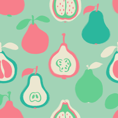 Abstract colorful fruits seamless pattern: pear, pomelo and quince. Hand drawn brush grunge exotic fruit background. Stock Vector - 89252963