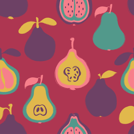 Abstract colorful fruits seamless pattern: pear, pomelo and quince. Hand drawn brush grunge exotic fruit background.