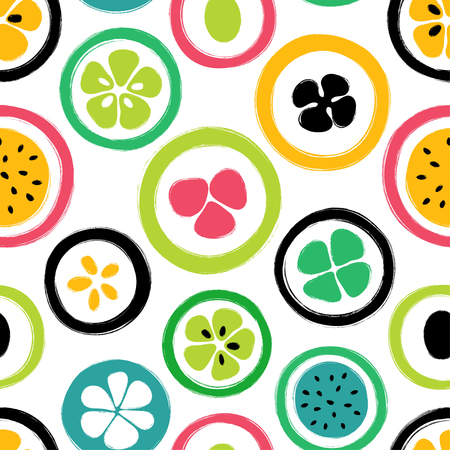 Abstract colorful slice of fruits seamless pattern. Hand drawn brush grunge exotic fruit background. Stock Vector - 89252961