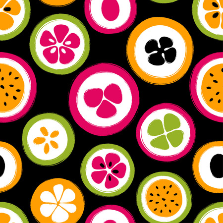 Abstract colorful slice of fruits seamless pattern. Hand drawn brush grunge exotic fruit background. Stock Vector - 89252964