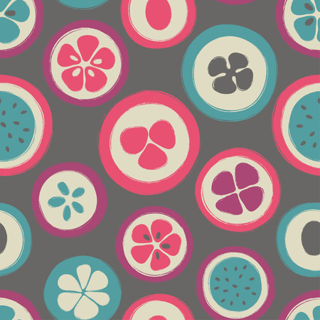 Abstract colorful slice of fruits seamless pattern. Hand drawn brush grunge exotic fruit background. Illustration