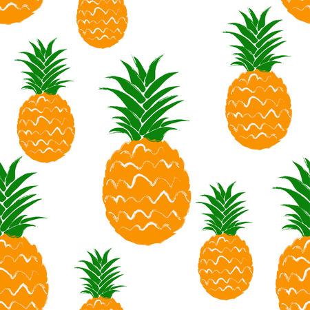 Abstract kleurrijk ananas naadloos patroon. Hand getrokken borstel grunge exotisch fruit achtergrond.