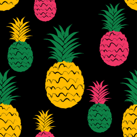 Abstract colorful pineapple seamless pattern. Hand drawn brush grunge exotic fruit background. Ilustração