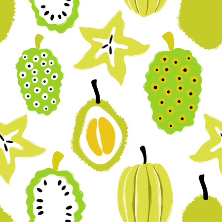 Abstract colorful fruits seamless pattern: durian, carambola and noni. Hand drawn brush grunge exotic fruit background. Ilustração