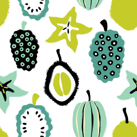 Abstract colorful fruits seamless pattern: durian, carambola and noni. Hand drawn brush grunge exotic fruit background. Illustration