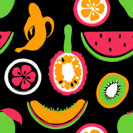 Abstract colorful fruits seamless pattern: banana, mango, watermelon, kiwi, melon, orange and jackfruit. Hand drawn brush grunge exotic fruit background.