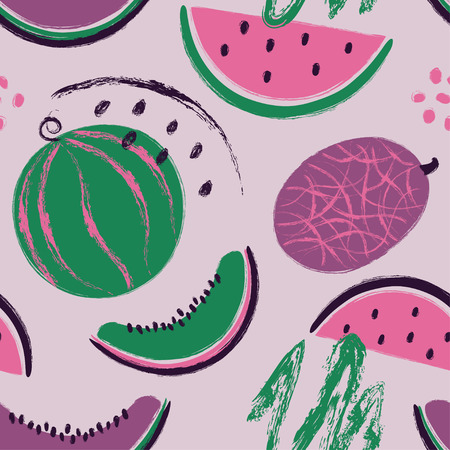 Abstract colorful slices of watermelon seamless pattern. Hand drawn brush grunge fruit background.