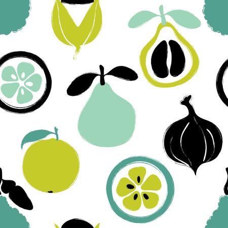 Abstract colorful fruits seamless pattern: pomelo, bergamot, orange and guarana. Hand drawn brush grunge exotic fruit background. Ilustração