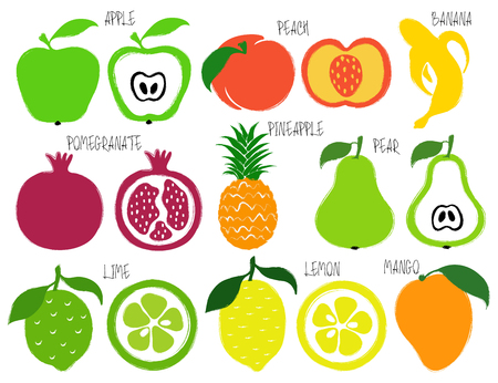 Colorful brush grunge fruits icons set: apple, peach, banana, pomegranate, pineapple, pear, lime, lemon and mango. Stock Vector - 89252982