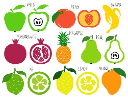 Colorful brush grunge fruits icons set: apple, peach, banana, pomegranate, pineapple, pear, lime, lemon and mango.