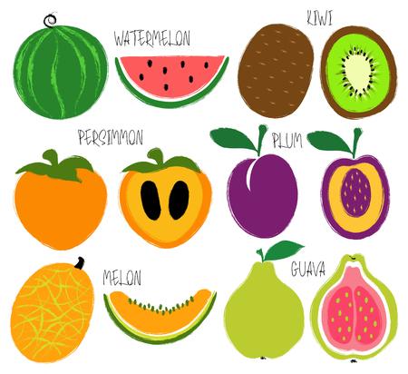 다채로운 브러시 그런 지 과일 아이콘 설정 : 수 박, 감, 키 위, 구아바, 매 화와 멜론. 일러스트