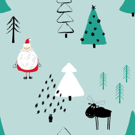 Colorful funny Christmas seamless pattern with Santa Claus, deer and trees. Hand drawn grunge brush winter forest background.