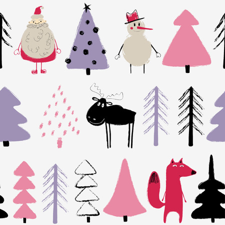 Funny Christmas seamless pattern with Santa Claus, snowman, deer, fox and trees. Hand drawn grunge brush winter holiday background.