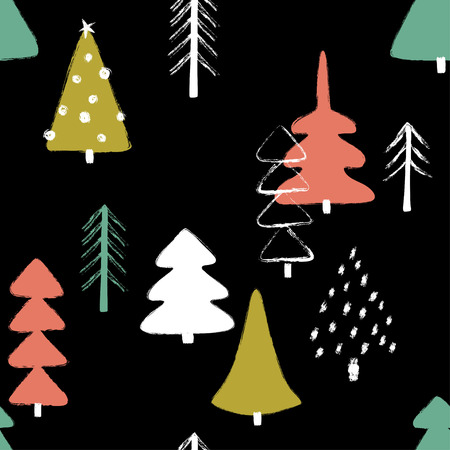 Colorful funny Christmas seamless pattern with trees. Hand drawn grunge brush winter forest background.