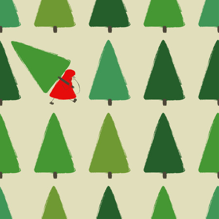 Colorful funny forest seamless pattern with Santa Claus and trees. Santa is stealing a Christmas tree.