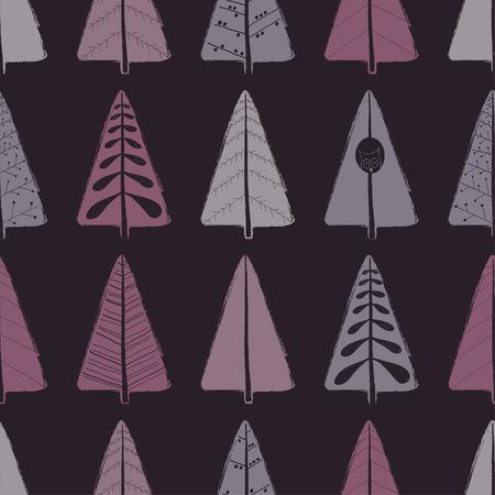 装飾用の木のカラフルな面白いシームレス パターン。手には、グランジ ブラシの森の背景が描画されます。  イラスト・ベクター素材