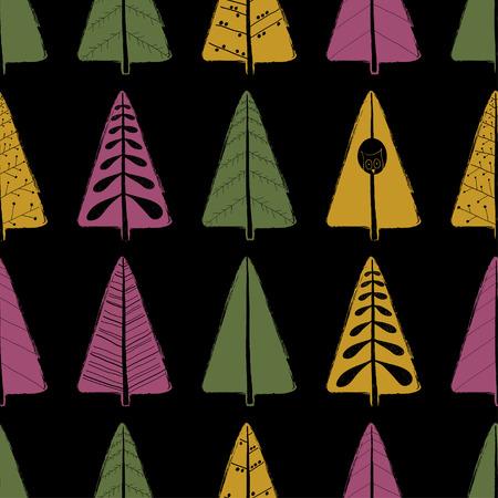 観賞用の木とカラフルな面白いシームレスパターン。手描きグランジブラシの森の背景。