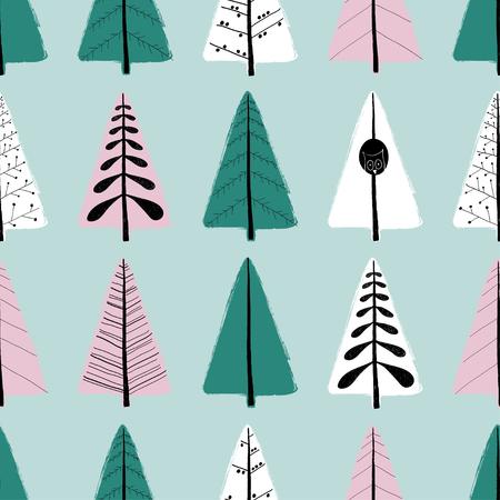装飾用の木のカラフルな面白いシームレス パターン。手には、グランジ ブラシの冬の森の背景が描画されます。