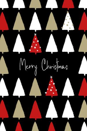 面白いグランジの森の木のパターンと手描きのクリスマスグリーティングカード。  イラスト・ベクター素材