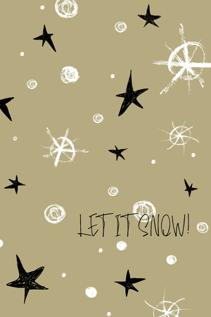 Hand drawn Christmas greeting card with grunge snowflakes and text - let it snow.